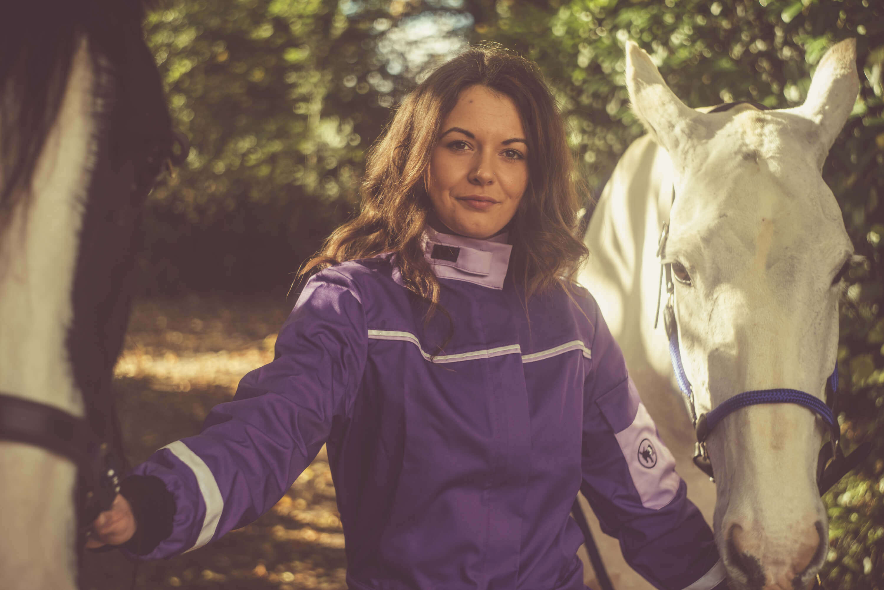 woman-in-purple-coverall-holding-a-horse-and-a-white-horse-on-its-side