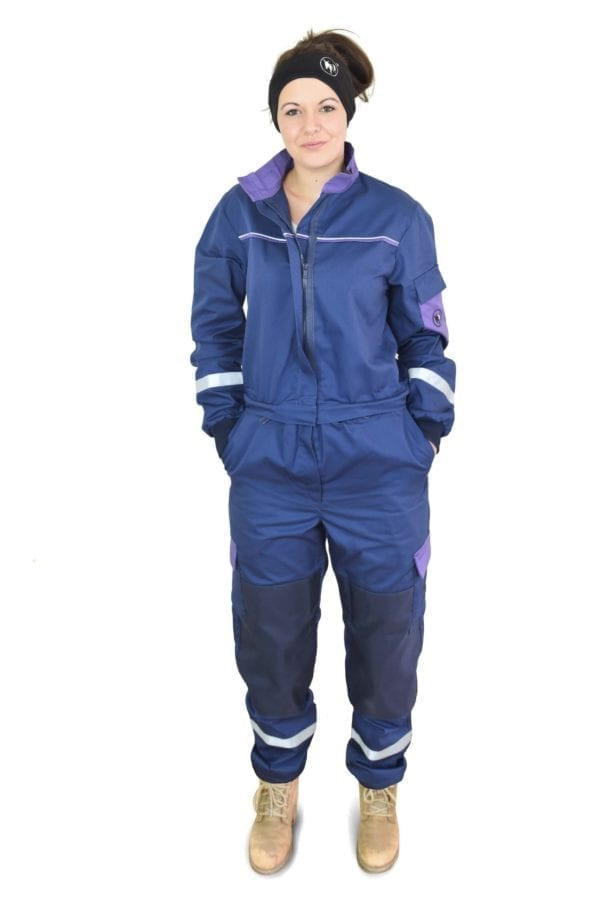 model woman wearing classic blue coverall