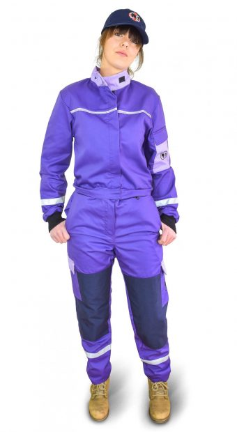 a girl wearing classic purple coverall