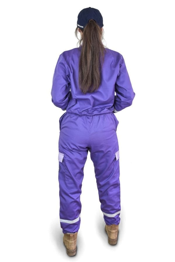 woman wearing classic purple coverall back view
