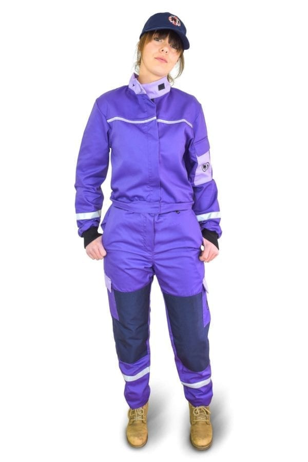 model woman wearing classic purple coverall