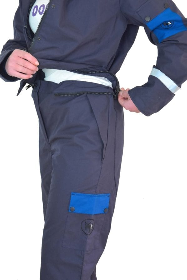 a firl wearing classic blue coverall