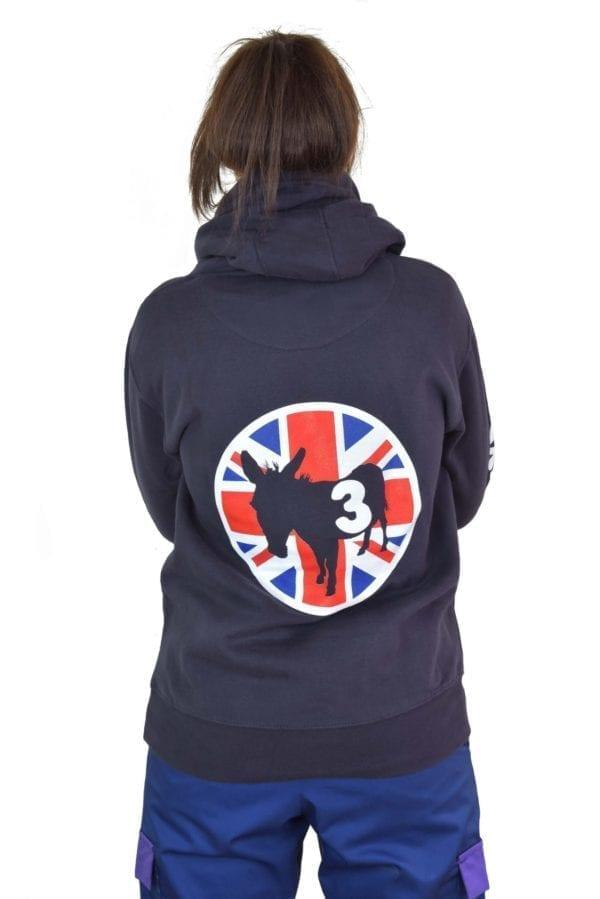 a girl wearing black hoodie jacket in back view