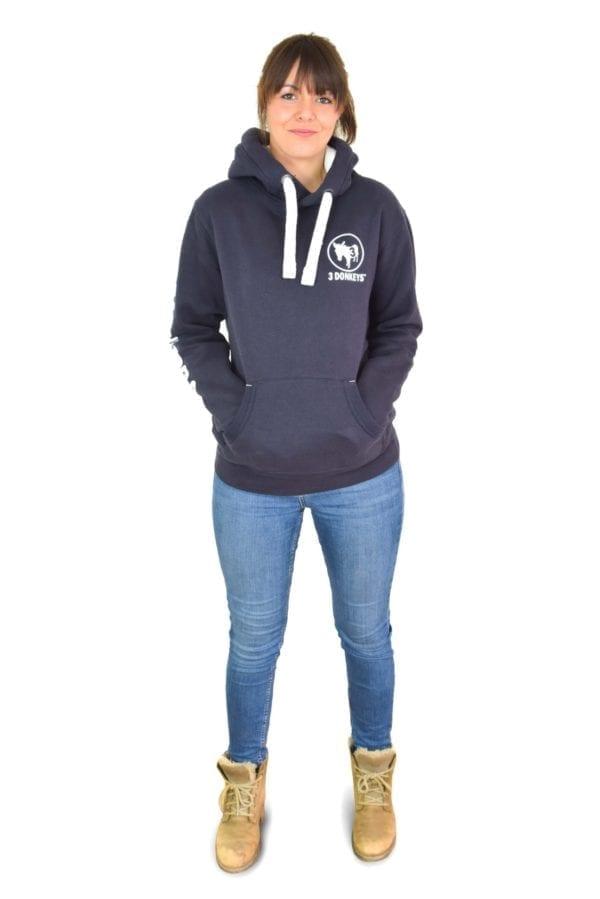 a girl wearing black hoodie jacket