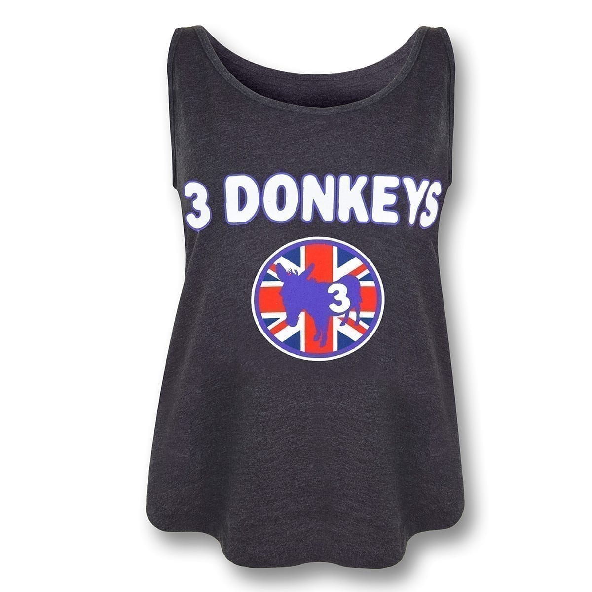Black active tank with 3 donkey brand name